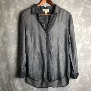 Cloth and stone button down grey long sleeve top